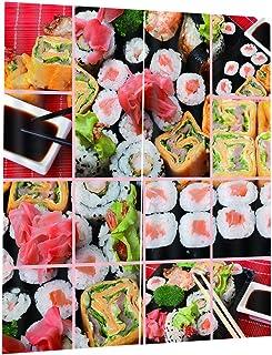 FAKEME 3D Blockout Sushi Impressão Cortina Drape Fabric Tecido Cortina de Janela Decoração - 170x200 cm