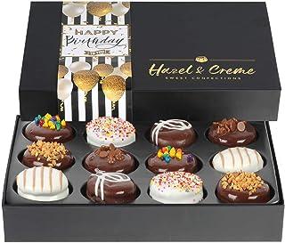 Hazel & Creme Happy Birthday Cookie Gift - 12 Cookies - Birthday Food Gift - Chocolate Covered Cookies - Chocolate Gift Bo...