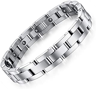 Feraco Mens Sleek Magnetic Therapy Bracelet for Arthritis Pain Relief with Free Link Removal Tool,9 inch