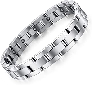 Feraco Mens Sleek Magnetic Therapy Bracelet for Arthritis Pain Relief with Free Link..