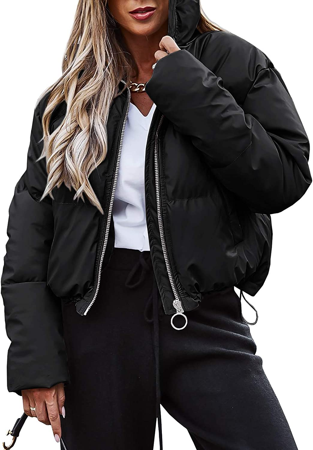 Womens Zip Up Quilted Puffer Max 61% OFF Jacket Pocketed Max 41% OFF Long Wi Warm Sleeve