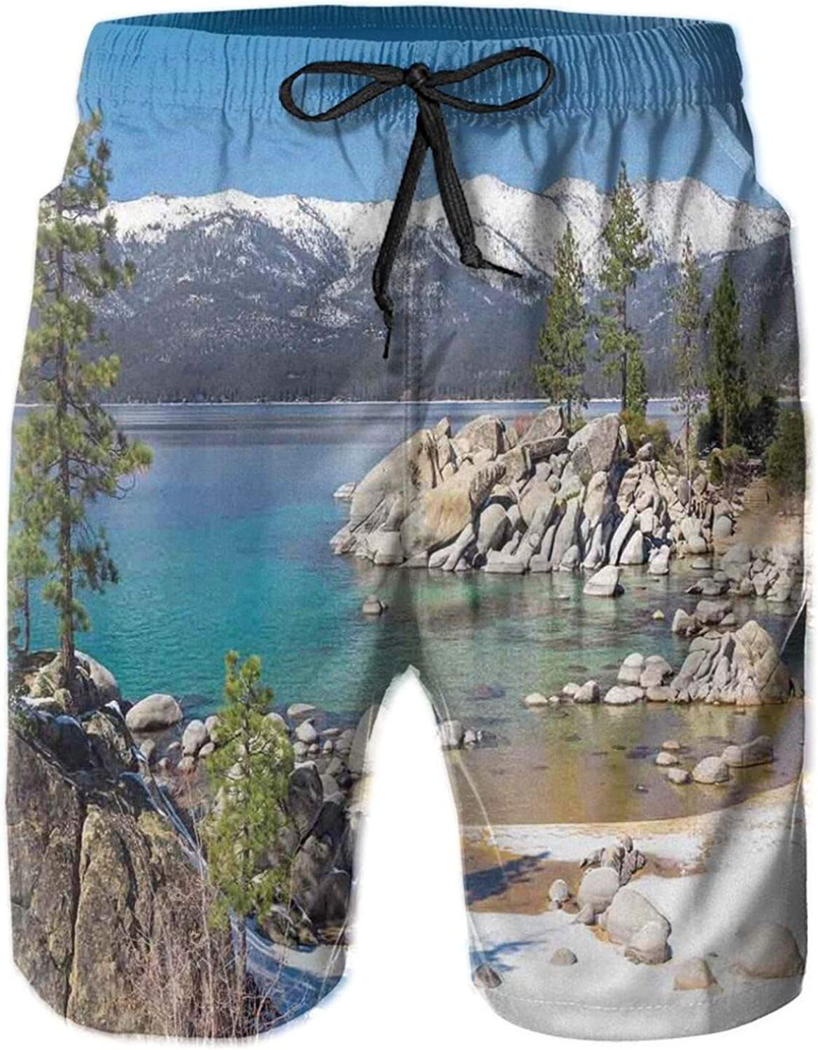 MUJAQ Circle Lake Harbor Surrounded by Snowy Mountain Countryside Relax Treatment Photo Mens Swim Trucks Shorts with Mesh Lining,M