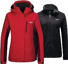 Wantdo Women's Waterproof 3 in 1 Ski Jacket Warm Fleece Interchange Rain Jacket