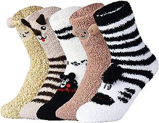 VBIGER Calcetines de Invierno Calientes de Piso Lindos de Navidad para Mujer Vellón de Coral Abrigados 5 pares