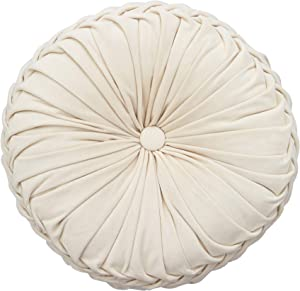 Cassiel Home Ivory Throw Pillow, Handcrafted Pumpkin Velvet Floor Pillow Spring Gifts Cream Pillows Floor Cushion for Chair Couch(Solid Ivory/Cream)
