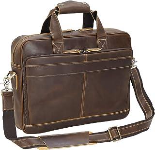 Polare Italian Full Grain Leather Briefcase for Men Business Travel Messenger Bag 15.6 Inch Laptop Bag