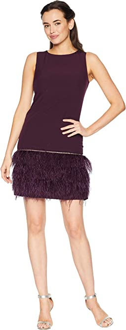 Sleeveless Crepe Sheath with Ostrich Feather Trim