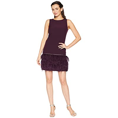 Tahari by ASL Sleeveless Crepe Sheath with Ostrich Feather Trim (Aubergine) Women