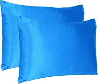 Oussum Satin 300 TC Pillow Cover, Queen - 20 x 30 Inch, Blue