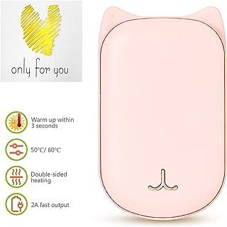 Cadeau de Noel Saint Valentin Cadeau R/échauffement Double Face VEIERSIA Rechargeable Portatif Chauffe-Mains USB 6000mAh
