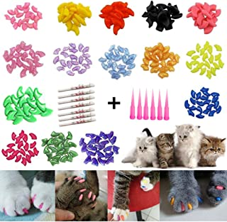 JOYJULY 100pcs(5 Sets) Soft Pet Cat Nail Caps Claws Control Paws of 5 Different Colors Caps+ 5 Adhesive Glue Cat Nail Caps...
