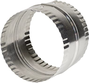 """Deflecto 4"""" Duct Connector, Aluminum with Bead and Crimp, Silver, 3"""" long (DAC4C)"""