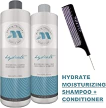 Marcia Teixeira Keratin Care Hydrate MOISTURIZING Shampoo & Conditioner DUO SET, Sulfate-Free for Normal to Dry Hair (w/Sleek Comb) Moisture Hydrating (33 oz / 1000 ml - LARGE LITER DUO KIT)