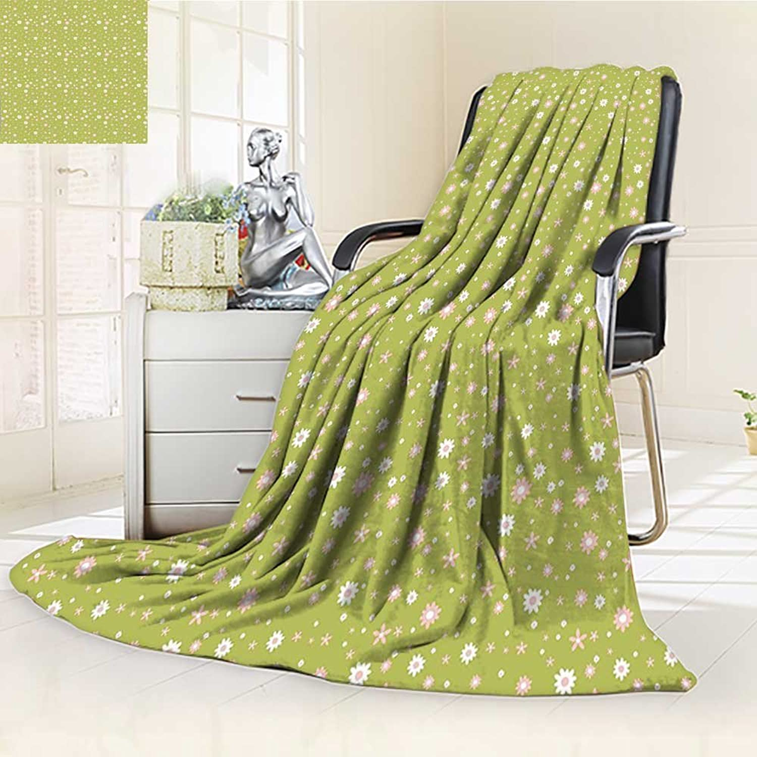 YOYI-HOME Digital Printing Duplex Printed Blanket Small Different Spring Flowers Blooms Doodle Style Pattern Green Light Pink White Summer Quilt Comforter  W59 x H39.5