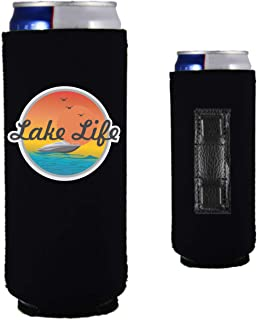 Lake Life Magnetic Neoprene Collapsible Slim Can Coolie (1, Black)
