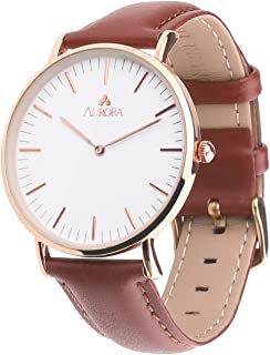 Aurora Women's Metal Retro Casual Round Dial Quartz Analog Wrist Watch with Leather Band