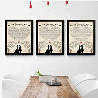 kalistamao 【3-Piece Set!!!】 Art Picture Frame-Speechless Lyrics Portrait Poster Print -Bedroom,Office,Living Room,Coffee Shop,Elegant Decor 12x10inch