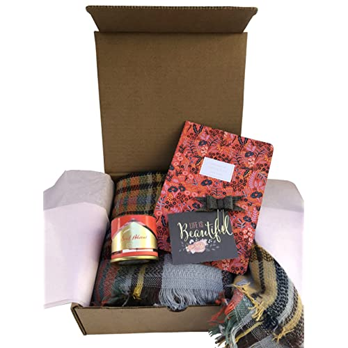Blush Gift Box W Scarf Candle Notebook Planner Accessory For Friend