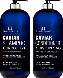 Botanic Hearth Caviar Shampoo and Conditioner Set - Sulfate Free, Shampoo Enriched with Keratin & Conditioner with Silk Protein - for Men and Women - Safe for Color Treated Hair - 16 fl oz x 2