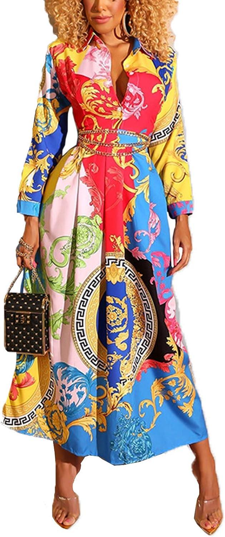 WSIRMET Women Deep V Neck Long Sleeve Colorful Printed Slim Waist Flowy Swing Midi T-Shirt Dress