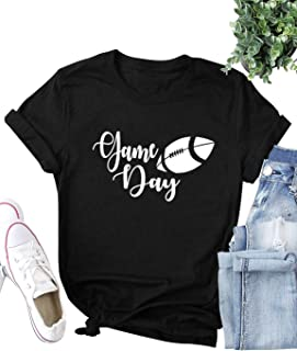 ZJP Women Short Sleeve O Neck Game Day Letter Printed Solid Color Tee Tops Shirt
