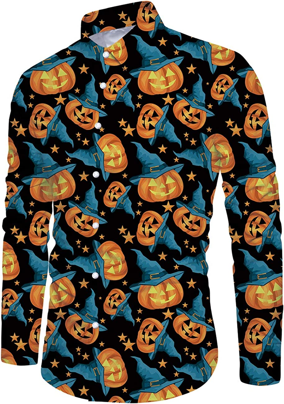 Loveternal Mens Christmas Halloween Long Sleeve Button Down Shirt Casual Slim Fit Dress Shirts