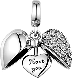 925 Sterling Silver Charm - Love Heart Crystal Bead for Pandora Bracelet