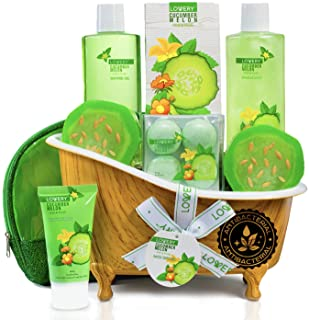 Home Spa Bath Basket Gift Set - Aromatherapy Kit for Men & Women - Natural Cucumber with Organic Melon - 12 Piece Skin Care Set Includes 2 Organic Melon Soaps, Lotion & More - Ideal Mother's Day Gift