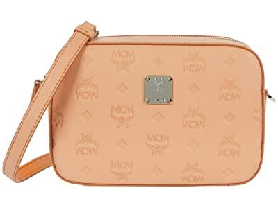 MCM Klara Monogrammed Leather Crossbody Mini (Sandstone) Bags