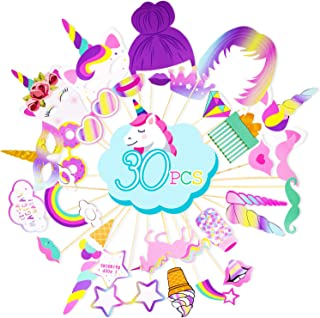 Rainbow Unicorn Photo Booth Props - Unicorn Birthday Party Supplies Decorations 30 PCS Photo Props Kit - Funny Baby ShowerFavors for Girls Kids