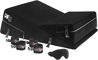 Liberator Black Label Wedge/Ramp Combo with Cuff Kit for BDSM and Bondage Play, Black Microfiber, 24 inch.