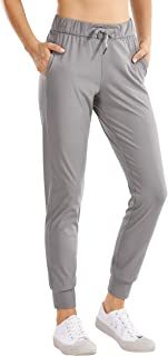 CRZ YOGA Women's Stretch Drawstring Jogger Fitted Cuffed Sweatpants with Pockets Casual Travel Lounge Pants
