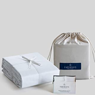 100% Organic Cotton Full White Sheet Set | Percale Weave | 4 Piece | 300 Thread Count | GOTS Certified | Breathable Crisp ...