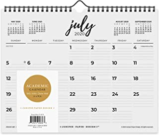 2020-2021 Academic Monthly Wall Calendar Desk Black & White Calendar July 2020 to June 2021, 11 x 8.75 Inches with Back Support to Keep It Flat - Simply Black