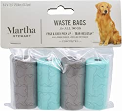 Martha Stewart Dog Waste Bags | Large Unscented Doggie Bags for a Quick Cleanup | Extra Thick and Strong Waste Bags for Dogs | Guaranteed Leak-Proof |60/120/180