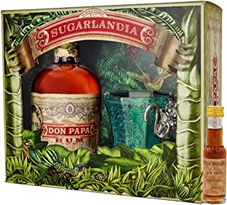 Don Papa Geschenkset - Rum 0,7l  Glas  Vita Dulcis Don Papa 10 Jahre Miniatur 0,02l - Rum aus Negros/