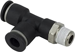 """PneumaticPlus PST-1/4-N1 Push to Connect Tube Fitting, Male Run Tee - 1/4"""" Tube OD x 1/8"""" NPT Thread (Pack of 10)"""