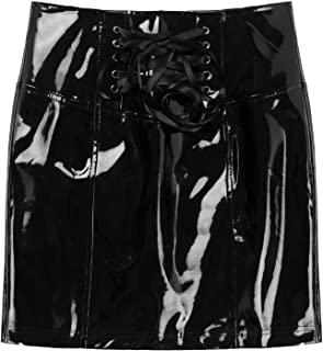 Kaerm Women's High Waisted Knee-Length Tunic Skirts Shiny Wet Look PU Leather Bodycon Mini Skirt Clubwear
