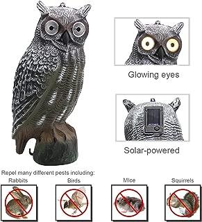 YOFIT Solar Bird Scarecrow Fake Horned Owl Decoy, Bird Repellent Garden Protectors, Natural Enemy Pest Deterrent Scarecrow