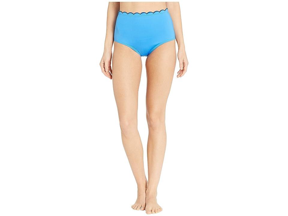 Kate Spade New York Fort Tilden Contrast Scalloped High-Waisted Bikini Bottoms (Riviera Blue) Women