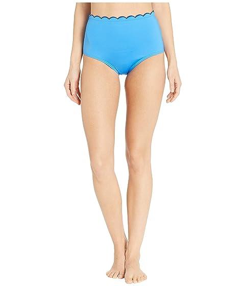 Kate Spade New York Fort Tilden Contrast Scalloped High-Waisted Bikini Bottoms