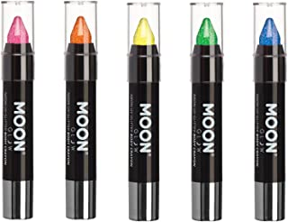 Moon Glow - Blacklight Neon Glitter Face Paint Stick/Body Crayon makeup for the Face & Body - Set of 5 colours - Glows brightly under blacklights