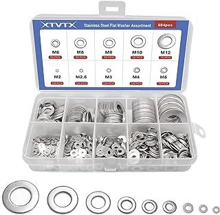 XTVTX 684 STUKS Platte sluitringset 304 roestvrij staal Platte sluitring Veerborgring Assortimentsset Met een doorzichtige...