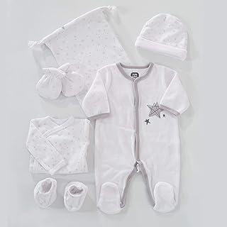 TROIS KILOS SEPT - Kit Naissance 6 Pièces - 1 mois - Velours Blanc - Motif Étoiles - (Pyjama, Body, Bonnet, Moufles, Chaus...