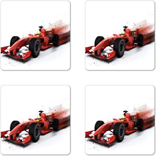 Ambesonne Cars Coaster Set of 4, Generic Formula 1 Racing Car Illustration with Special Effect Turbo Motion Auto Print, Square Hardboard Gloss Coasters for Drinks, Red Black