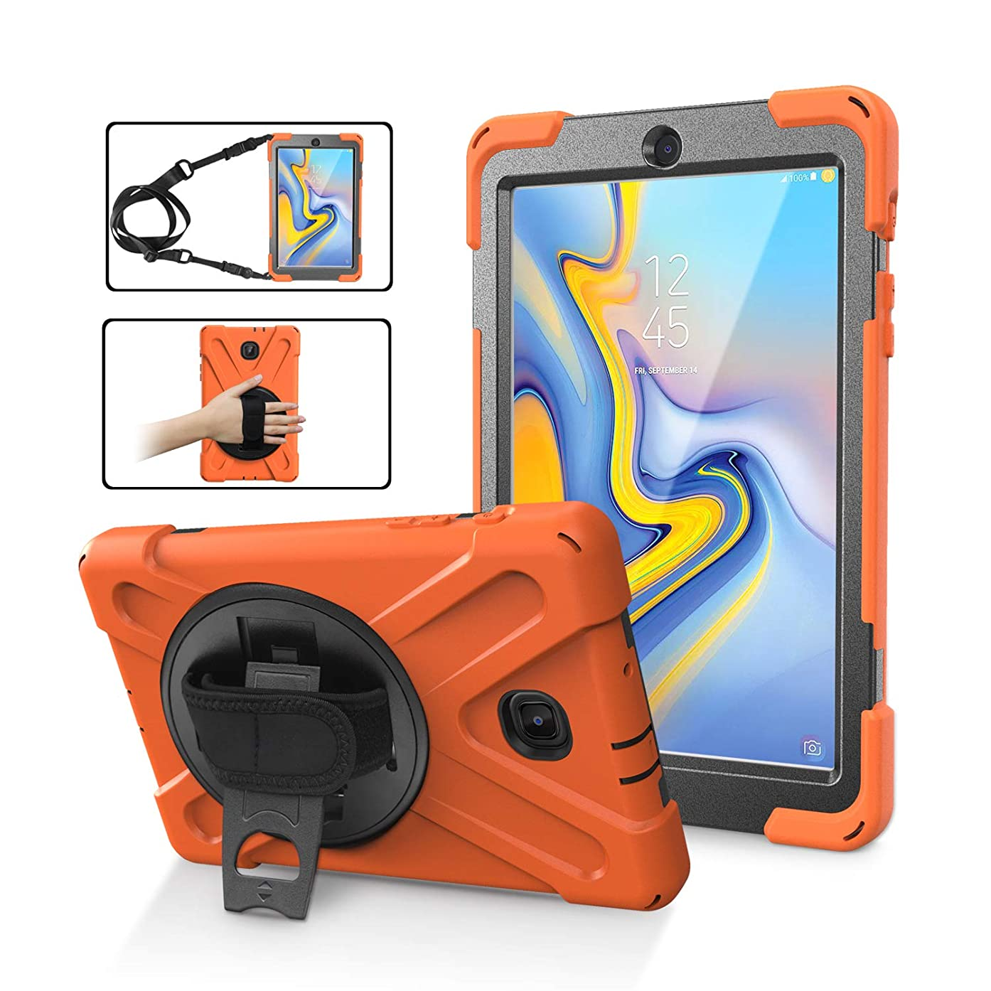 Samsung Galaxy Tab A 8.0 2018 Case,ZERMU Heavy Duty Three Layer Shockproof Rugged Hard PC+Silicone Armor Case with Built-in Stand+Hand Strap+Shoulder Strap for Samsung Galaxy Tab A 8.0 (2018) SM-T387