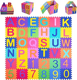 Kangler Kids Foam Puzzle Play Mat (36-Piece Set) Interlocking EVA Floor Tiles with Alphabet and Numbers