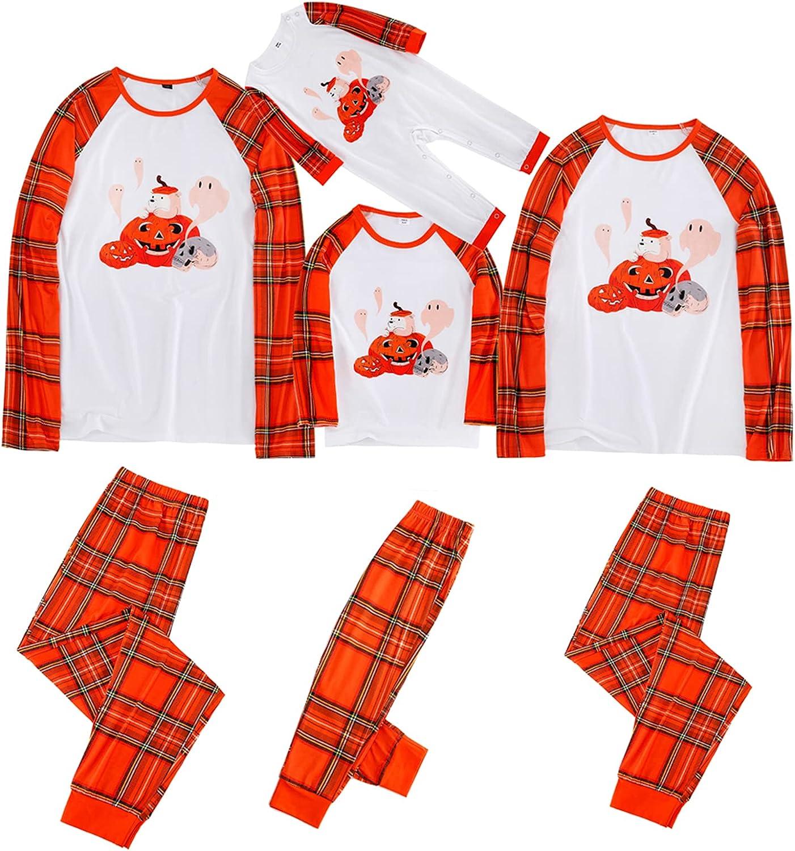 Matching Family Pajamas Sets Halloween PJ's Sleepwear Orange Pumpkin Long Sleeve Tee and Plaid Printed Bottom Romper