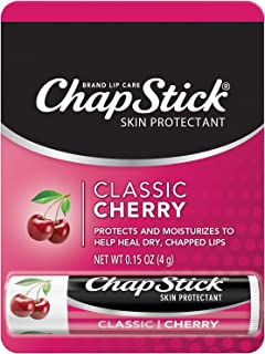 Chapstick Classic Cherry Flavor Skin Protectant Flavored Lip Balm Tube, 0.15 Oz Each (1 Total Stick)