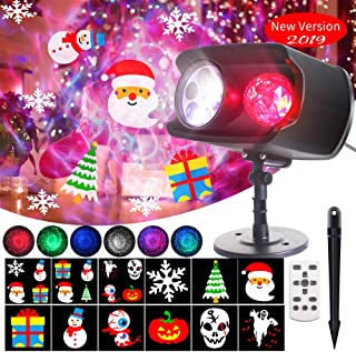 DreiWasser Christmas Projector Lights 2 in 1, Ocean Wave Projector with 12 Themes Designs for Halloween, Christmas and Holiday Indoor Outdoor IP65